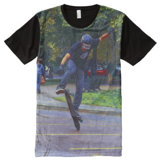 Flipping The Deck  -  Skateboarder All-Over Print T-Shirt