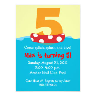 Floatie Five Birthday Invite