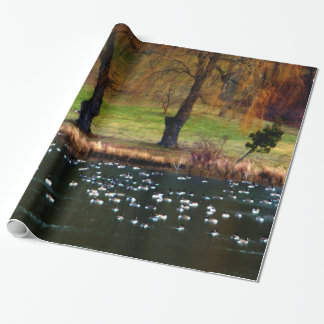 Flock of Geese Weeping Willows Wrapping Paper
