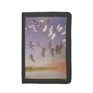 Flock of Ibis Flying Over Wetlands, Vintage Birds Tri-fold Wallet