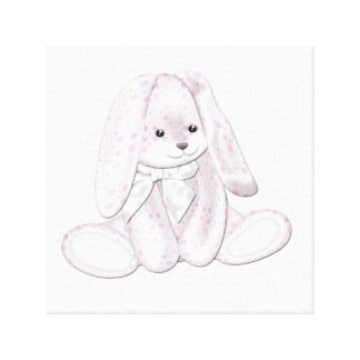 Floppy Baby Pink Plush Bunny Baby Canvas Art Gallery Wrap Canvas