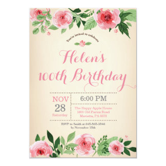 Floral 100th Birthday Invitation Pink Watercolor