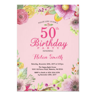 Floral 50th Birthday Invitation for Women Pink