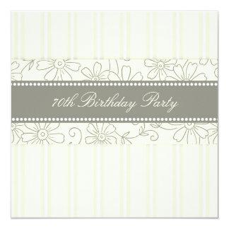 "Floral 70th Birthday Party Invitations 5.25"" Square Invitation Card"