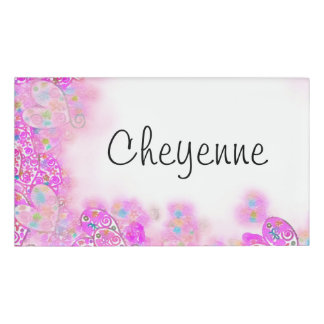 Floral Abstract Pink Hearts Watercolor Name Tag
