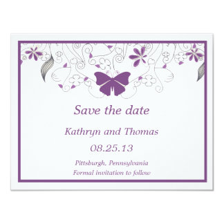 Floral and butterfly Save The Dates Card