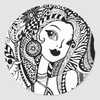 Floral and Flirty Color Your Own Zendoodles Classic Round Sticker