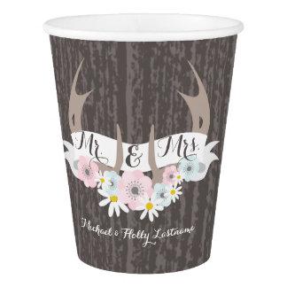 Floral Antlers + Barnwood Wedding Cups