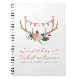 Floral Antlers & Roses Party Bunting Shabby Chic Notebooks