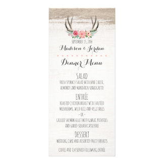 Floral Antlers Rustic Wedding Custom Dinner Menu
