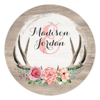 Floral Antlers Rustic Wedding Personalised Casual Card