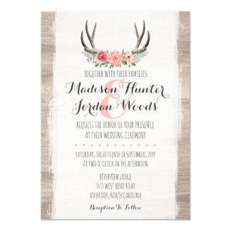 Floral Antlers Rustic Wedding Personalised Formal Card