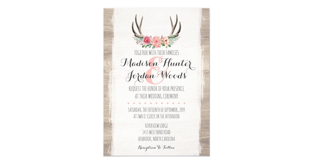 Rustic Wedding Invitations Nz: Floral Antlers Rustic Wedding Personalised Formal Card