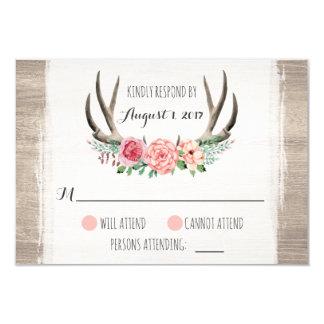 Floral Antlers Rustic Wedding Personalised RSVP Card
