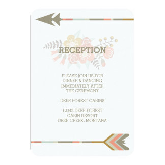 FLORAL ANTLERS | RUSTIC WEDDING RECEPTION INVITE