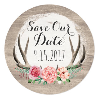 Floral Antlers Rustic Wedding | Save The Date Card