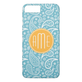 Floral Aqua Blue Paisley Pattern & Yellow Monogram iPhone 8 Plus/7 Plus Case
