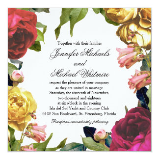 Floral Artistry Wedding 13 Cm X 13 Cm Square Invitation Card