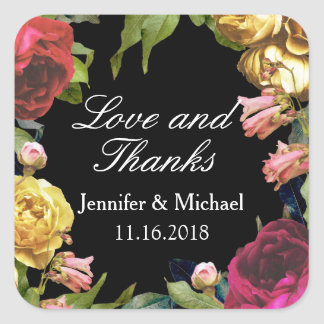 Floral Artistry Wedding Square Sticker