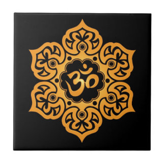 Floral Aum Design, golden black Small Square Tile