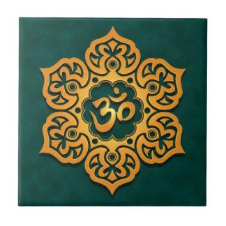Floral Aum Design, golden teal Small Square Tile