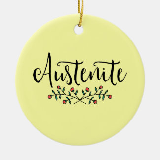 Floral Austenite Yellow Bookish Christmas Ornament