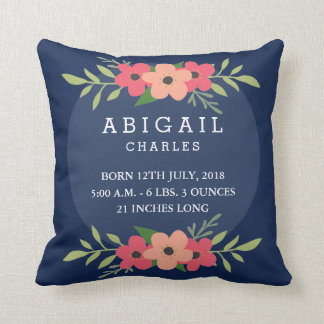 Floral Baby Stats Baby Pillow