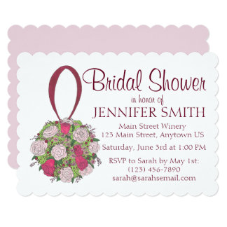 Floral Ball Rose Bouquet Bridal Shower Invitation