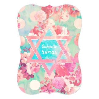 FLoral Bat-Mitzvah Pink Teal Floral Watercolor Card
