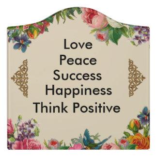 Floral Beige Encouragement Sentimental Sign Door Sign