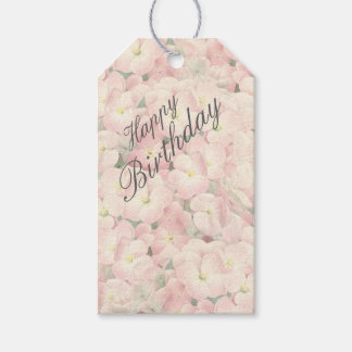 Floral birthday gift tags with hydrangea flowers
