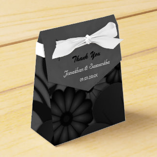 Floral Black and Gray Tent With Ribbon Favor Box