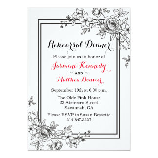 Floral Black And White Rehearsal Dinner Flowers 13 Cm X 18 Cm Invitation Card