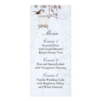 floral blue bird cage, love birds Menu Cards Rack Card Template