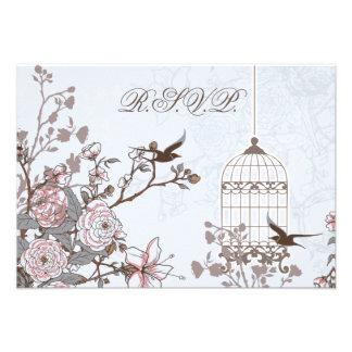 floral blue bird cage, love birds RSVP 3.5 x 5 Invite