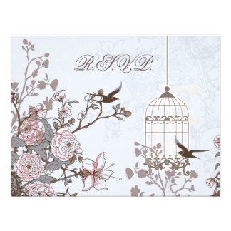 floral blue bird cage, love birds RSVP Personalized Invite