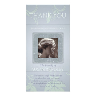 Floral Blue Gray Template Sympathy Thank You P Photo Cards