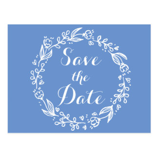 Floral Blue Save the Date Flower Engagement Postcard