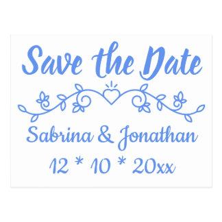 Floral Blue Save The Date Wedding Engagement Postcard