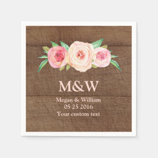 Floral Blush Pink Wood Wedding Napkin Disposable Serviettes