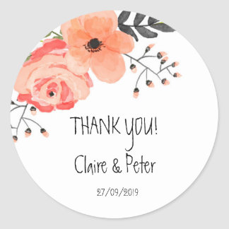 Floral Blush Rustic Wedding Sticker