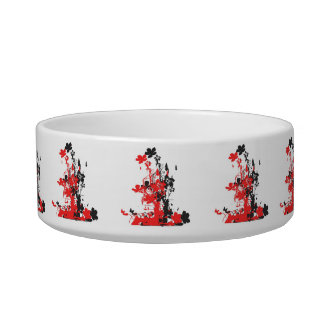 Floral bouquet-red cat water bowl