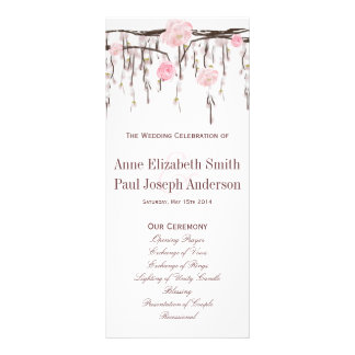 Floral branches pink Wedding Program Rack Card