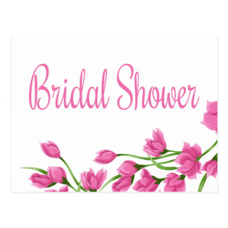 Floral Bridal Shower Pink & White Flowers Postcard