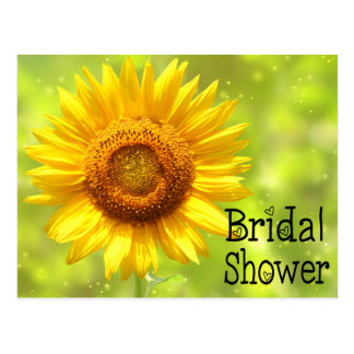 Floral Bridal Shower Sunflower Yellow & Green Postcard