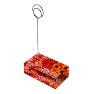Floral Bright Rojo Bouquet Rich Red Hot Daisies Table Card Holders