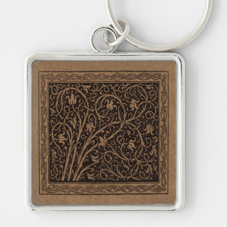 Floral Brown and Black Swirlin Vine Key Ring