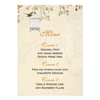 floral brown bird cage, love birds Menu Cards