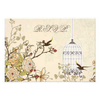 floral brown bird cage, love birds RSVP 3.5 x 5 Personalized Invites