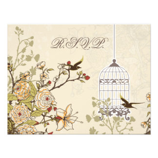 floral brown bird cage, love birds RSVP Personalized Invites